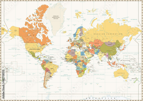 Fototapeta World Map isolated on retro white color background with labeling