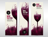Templates for banners or flyers. Background texture stains and glass of wine - 142711192