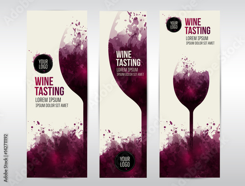Fototapeta Templates for banners or flyers. Background texture stains and glass of wine