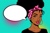 Fototapety Pop art afro american female face. Sexy young black woman with afro hairstyle in big earrings and empty speech bubble on dots background. Vector bright illustration in pop art retro comic style.
