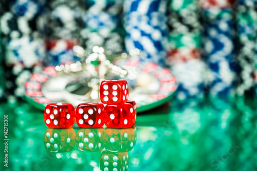 Poker Chips on a gaming table roulette Casino theme background Poster