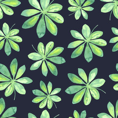 Watercolor tropical pattern with leaves.