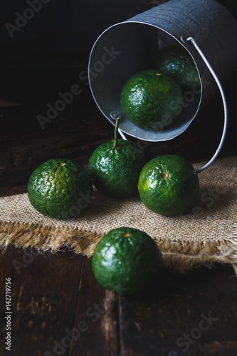 Green Oranges on the dark background - 142719756