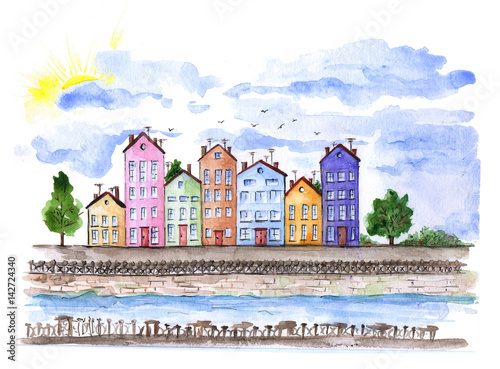 Watercolor urban landscape in Denmark. River and private houses on waterfront.