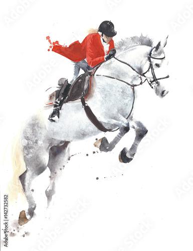springende-sportjockey-aquarellmalereiillustration-des-pferds-lokalisiert-auf-weisem-hintergrund