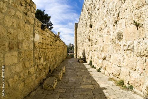 Poster Smal steegje Old city of Jerusalem