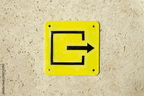 Poster Yellow sign evacuation pointer arrow exit right