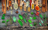 Various of spices and herbs in wooden spoons. Flat lay of spices ingredients chilli ,pepper corn, garlic, thyme, oregano, cinnamon, star anise, nutmeg, mace, ginger and bay leaves on shabby wooden. - 142742300