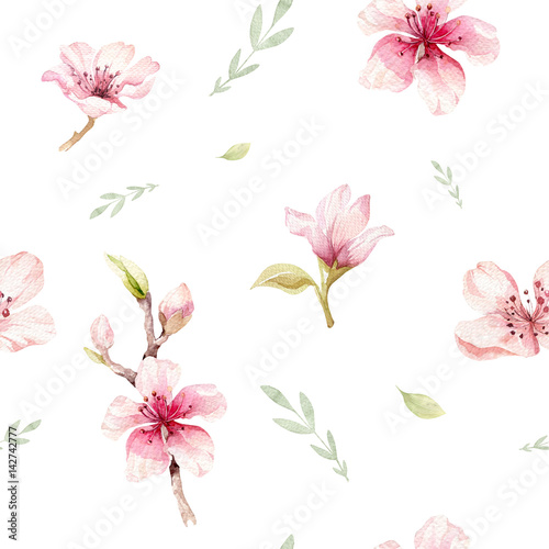 Watercolor seamless wallpaper with blossom cherry flowers, branch and leaves, bohemian watercolour decoration pattern. Design for invitation, wedding or greeting cards - 142742777