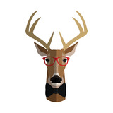 deer with glasses icon over white background. hipster style concept. colorful design. vector illustration