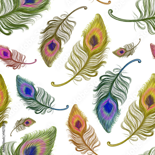 Hand drawn colorful feathers used for seamless wallpaper,  illustration painted by pencil on the white background, high quality © Iryna