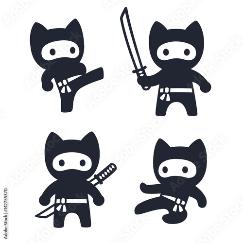 Cute cartoon ninja cat set - 142755370
