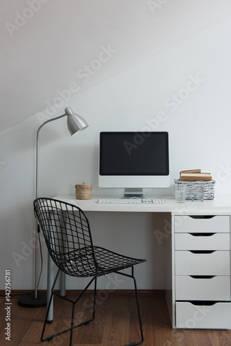 modern decorative working table and computer drawers and lamp © derinphotography