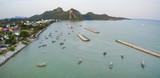 aerial view of klong wan harbor prachuap khiri khan southern of thailand