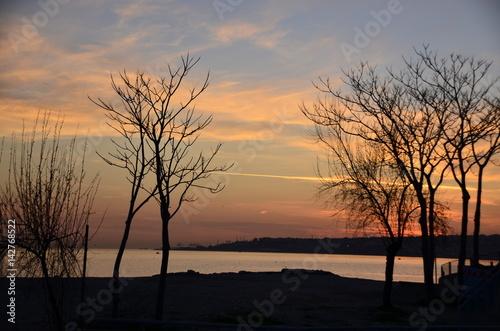 Sahil de gün batımı Poster