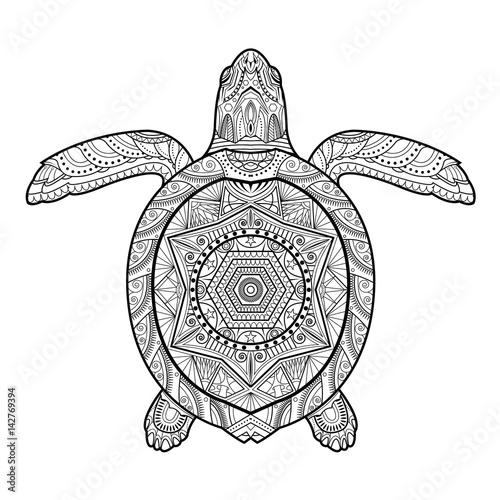 Stylized underwater turtle