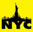 Yellow New York City skyline with Statue of liberty Vector