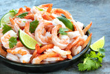 Platter of Shrimp with Lime and Cilantro, over Slate - 142772975