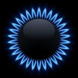 Brûleur gazinière allumé. Fond noir  - 142774712