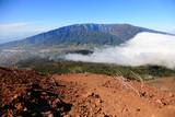 Volcanic landscape near El Pilar with cloud waterfall - La Palma, Canary Islands
