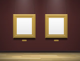 two golden blank picture frames in art gallery museum - 142780355
