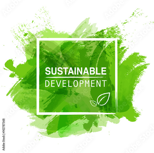 Sustainable development logo with green watercolor paint background, Vector illustration - 142787368