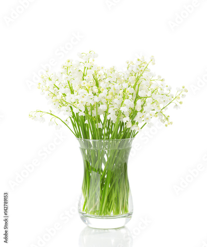 Fotobehang Lelietjes van dalen Bouquet of Lilies of the Valley isolated on white background.