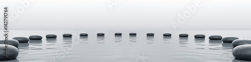 Zen stones panorama in the sea