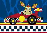 Cartoon Giraffe Racing Car Driver