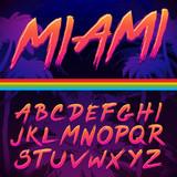 80s Retro Futurism style Font. Vector Brush Stroke Alphabet - 142800750