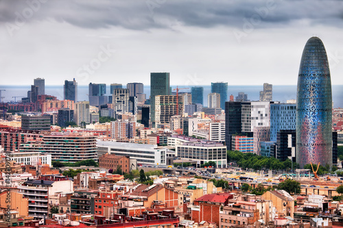 Barcelona Downtown City Skyline in Spain
