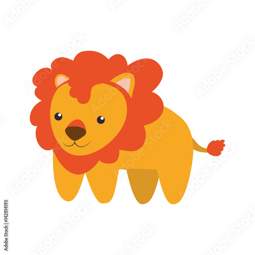 lion infantile cartoon animal vector icon illustration