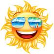 Happy sun icon, with mirror sunglasses reflecting a wonderful beach.