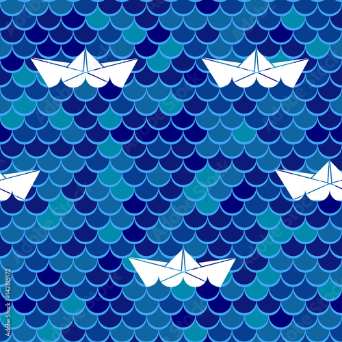 Cotton fabric Marine seamless background. Sea wavy and paper boats. Vector illustration.