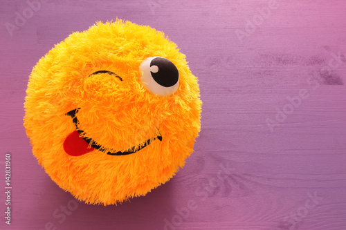 image of cute smiling emoticon, emoji concept Poster