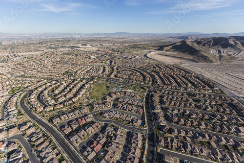 Poster Aerial view of new suburban neighborhoods in Las Vegas, Nevada.