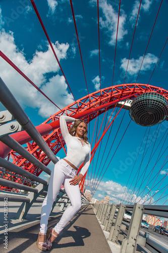 девушка блондинка стоит на мосту на фоне города Poster