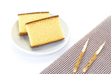 Sponge cake , a cake based on wheat flour , sugar, butter and eggs - 142864169