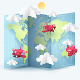 Paper art and origami of red planes fly around the world, travel and journey idea in transportation concept