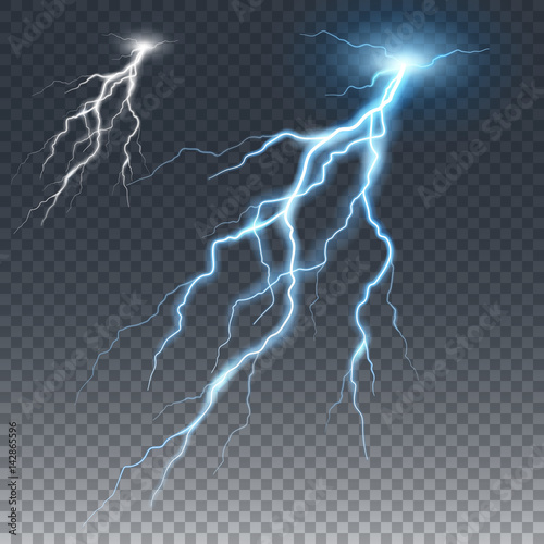 Lightening and thunder bolt, glow and sparkle effect