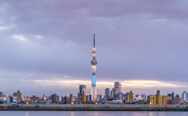 Tokyo city view and river with Tokyo landmark Tokyo Skytree