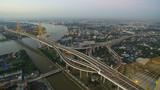 aerial view of bhumibol bridge crossing chaopraya river in bangkok thailand