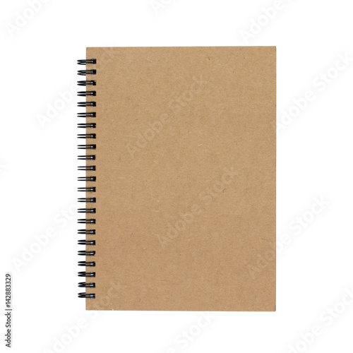 notebook with spiral binder isolated on white background - clipping paths Poster