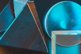 Geometric shapes in the style of abstraction. The principle of smooth and flowing on the background of direct and unambiguous.