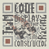 Vector graphic composition with QR code about formula one