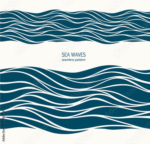 Marine seamless pattern with stylized blue waves on a light back