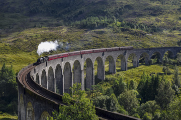 Jacobite steam train on Glenfinnan Viaduct approaching