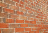 red brick wall perspective view background