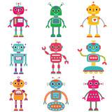 Robots  Nine Cute Characters Wall Sticker