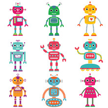 Robots  Nine Cute Characters Sticker